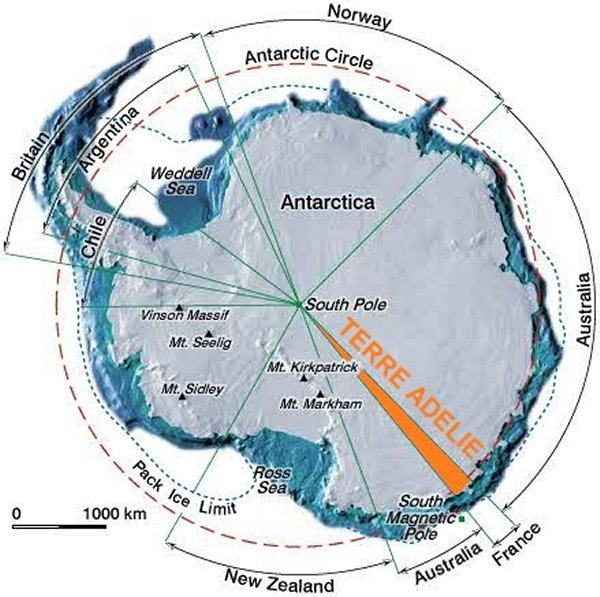 Carte des revendications territoriales en Antarctique